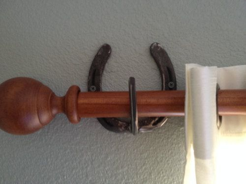 Curtains Ideas curtain rod hanger : Handmade rustic Horseshoe Curtain Rod Hanger/Holder set. Comes ...