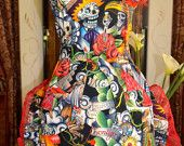Dios Los Muertos - Sugar Skull - Virgen de Guadalupe - Womens  Apron - Double Ruffle with Red Lace