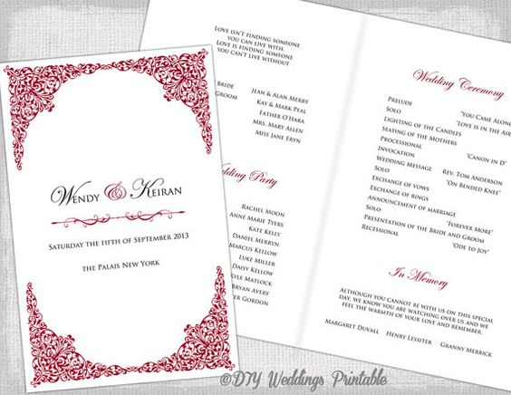 5 x 775 Wedding Program Instant Download Just add your by Mazoria - event program template