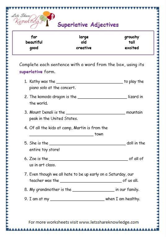 Grade 3 Grammar Topic 15: Superlative Adjectives Worksheets ...