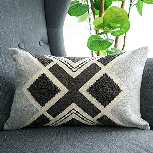 Lananas Lumbar Small Decorative Throw Pillows For Bed Grey Pillow Covers Embroidery Boho 12 X 20 Throw Pillows Bed Throw Pillows Oblong Throw Pillow