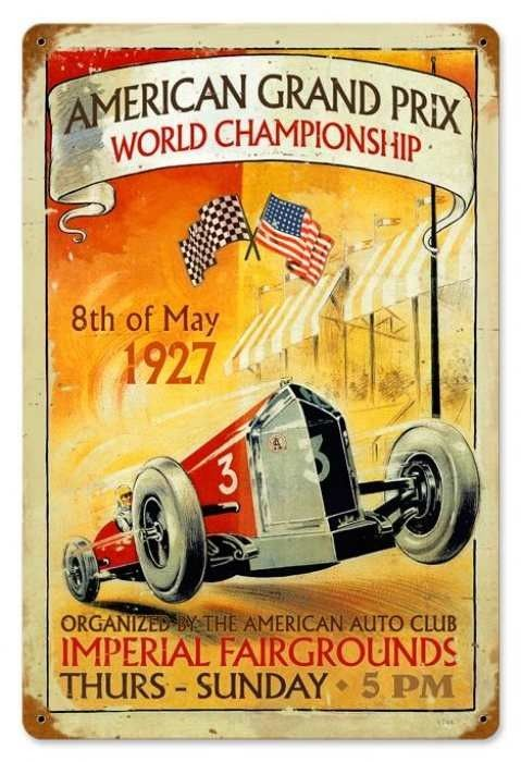 american grand prix tin sign vintage retro design. Black Bedroom Furniture Sets. Home Design Ideas