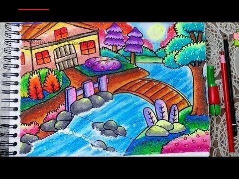 Cara Menggambar Dan Mewarnai Pemandangan Alam Rumah Sungai Menggambar Dan Mewarnai Pemandangan Pantai Den In 2020 Landscape Drawing For Kids Drawing Scenery Drawings