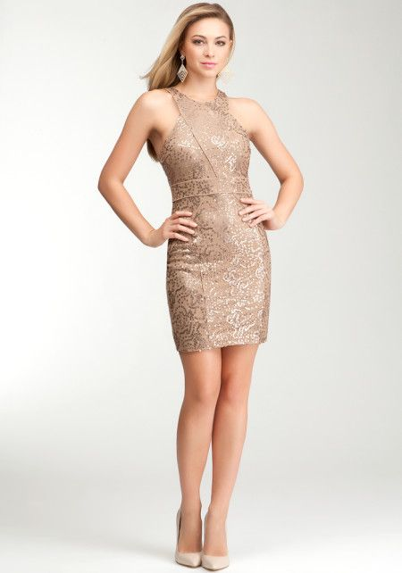 Sequin Lace Dress Chocolate 4