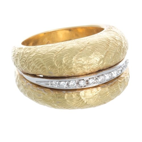 Rings :: Right Hand Rings :: Estate 18kt Yellow Gold and Diamond Dome Ring -