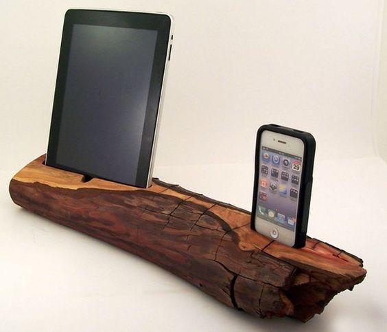 Wood iPad & iPhone Dock: