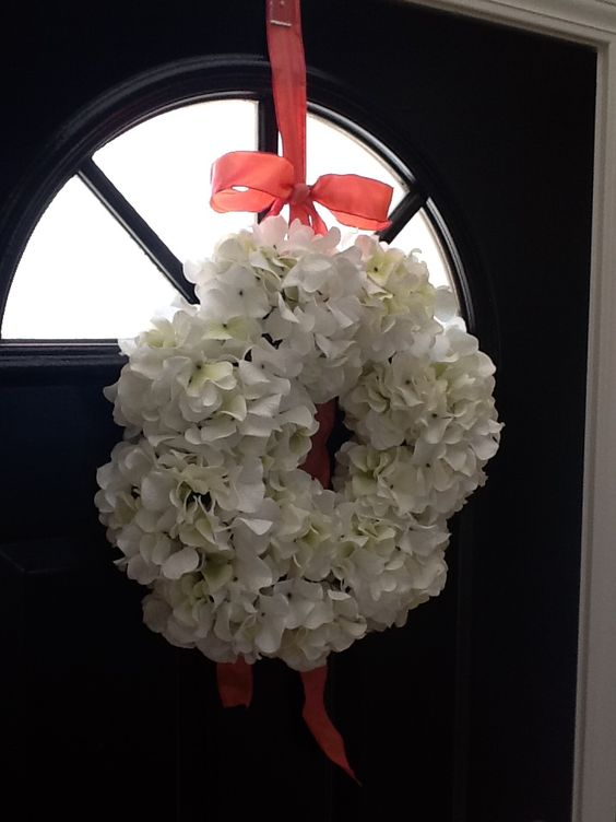 Hydrangea Wreath. If you're like us,  you use your back door way more than your front door. Hung it on the inside of the front door, that way I can enjoy it everyday,