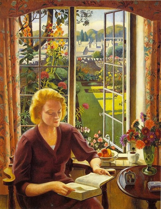 Woman Reading (1940) - Adrian Paul Allinson (British, 1890-1959)