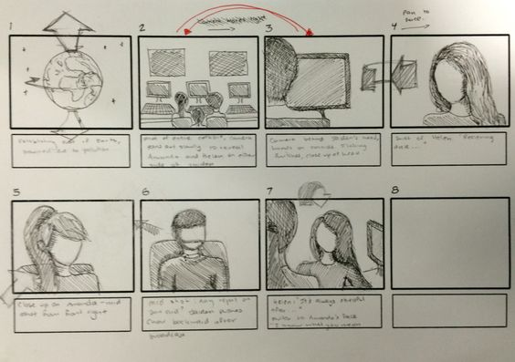 Kavita's storyboards for our movie