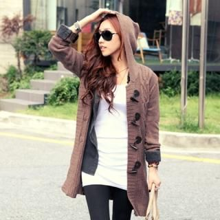 Hooded Toggle Knit Coat