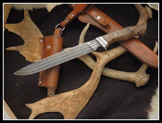 couteaux damas Atelier l'ours des terres froides, coutellerie, forge de damas, étuis, sculpture.: Damas lames fixes