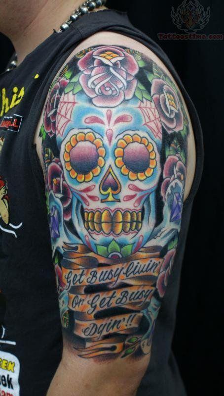 Pics Photos Half Sleeve Sugar Skull Tattoos For Men Sugar Skull Tattoos Skull Sleeve Tattoos Skull Sleeve