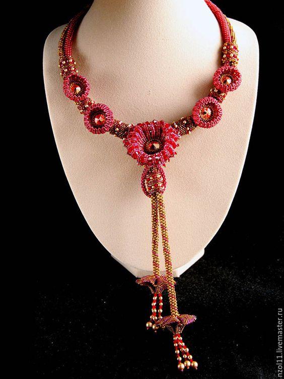 """Купить Колье """"Этюд в бордовых тонах"""" - бордовый, античное золото, розовый, цветок, колье из бисера"""