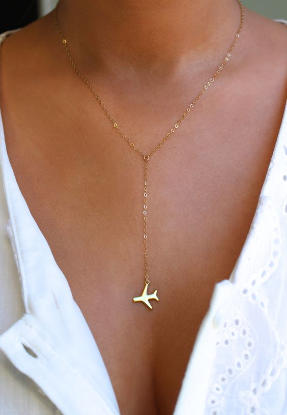 Airplane Gold Lariat Necklace, Travel Inspired Jewelry, Plane Necklace, Pilot Necklace, World Traveler,Wanderlust Jewelry,Travel Accessories