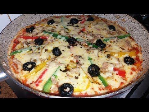 ألذ وأسرع بيتزا في 10 دقائق بدون دلك وبدون فرن بدون اختمار البيتزا السائلة في المقلاة Youtube Food Vegetable Pizza Vegetables