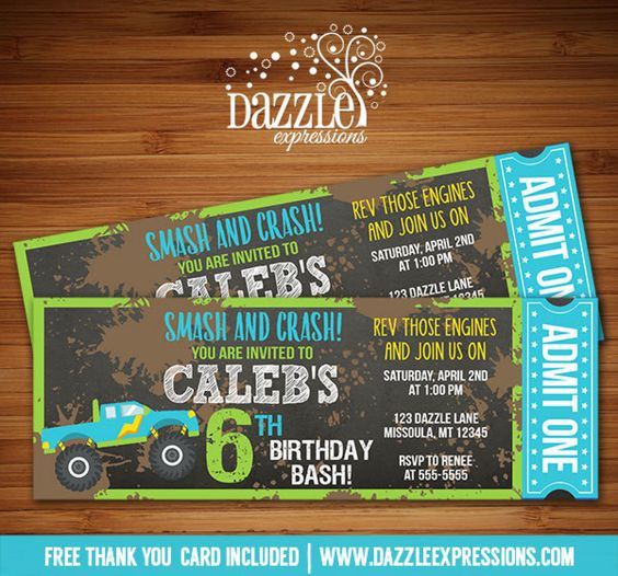 Printable Chalkboard Monster Truck Ticket Birthday Invitation | Digital File | Mud Race | Boy Birthday Party Idea | FREE thank you card | Party Package Available |  Banner | Cupcake Toppers | Favor Tag | Food and Drink Labels | Signs |  Candy Bar Wrapper | www.dazzleexpressions.com