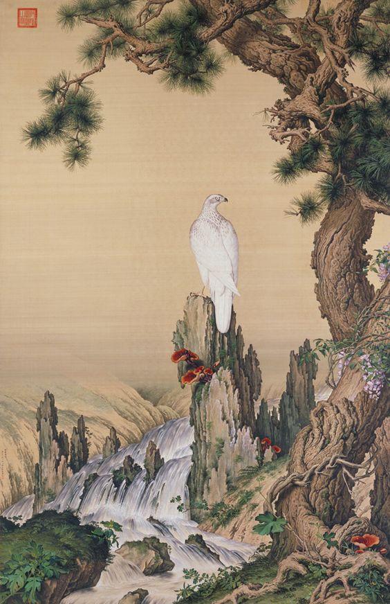 Pine, Hawk, and Spirit Fungus Giuseppe Castiglione (1688-1766), Qing dynasty: