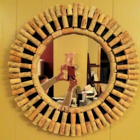 Decorate A Plain Mirror With Wine Bottle Corks Around The