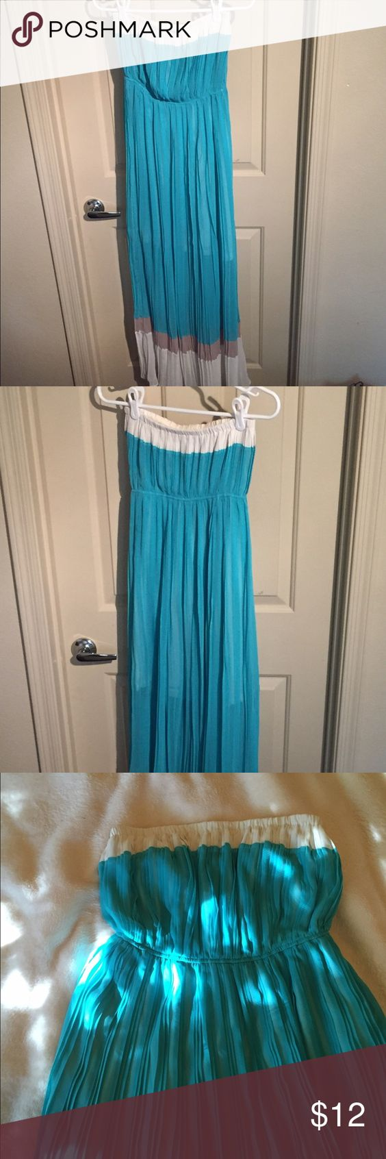 Strapless Maxi Dress Teal and Cream strapless block maxi dress. Made of chiffon and has a liner on the inside. Size is small. Dresses Maxi