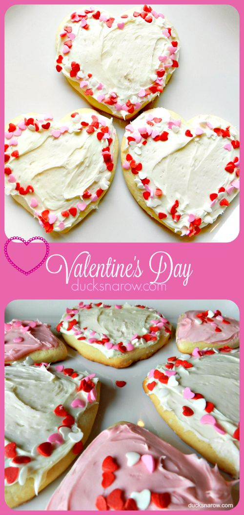 Heart shaped sugar cookies for Valentine's Day - easy recipe!