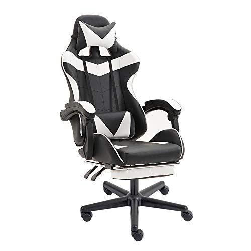 Soontrans Chaise De Gaming Ergonomique Fauteuil Gamer Dossier Hauteur Reglable En Cuir Pu Fauteuil De Bureau Racing Inc Racing Chair Footrest Office Desk Chair