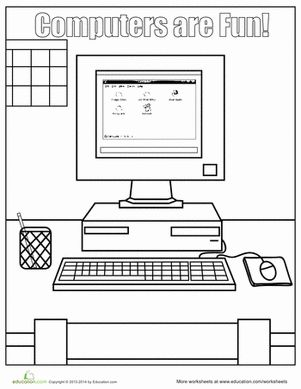 Computer Coloring Pages | Technology Date Night | Computer ...