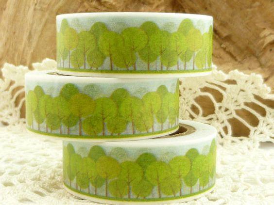 Spring Green Trees Washi Tape  FF1749 by BellasBeadHabit on Etsy