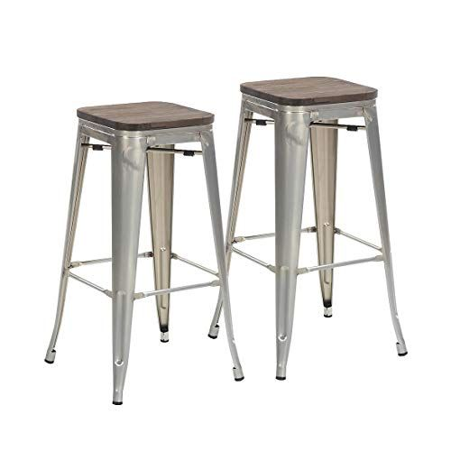 Buschman Set Of 2 Galvanized Wooden Seat 30 Inch Bar Height Metal Bar Stools Indoor Outdoor Stackable Metal Bar Stools Bar Stools Metal Counter Stools