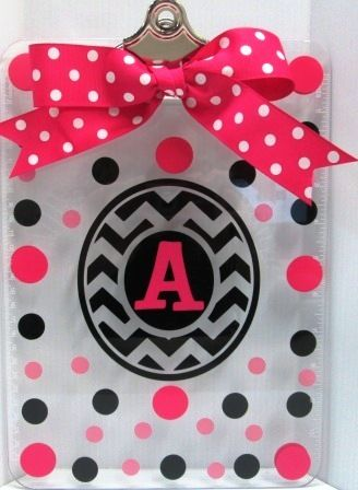 Jodi's Accessories - Chevron Frame with Initial Hot Pink,Black,Soft Pink Polka Dots Large Clipboard, $15.00 (http://www.jodisaccessories.net/chevron-frame-with-initial-hot-pink-black-soft-pink-polka-dots-large-clipboard/)