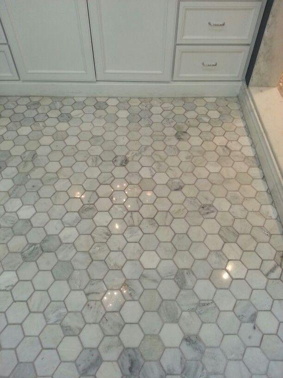 Bathroom Shower Floor Tile Hampton Carrara Hex Marble Mosaic 3 X In Https Www Product 657664 P Do Pinterest Baño