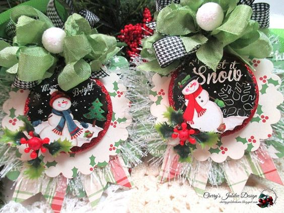 country christmas tags-PAIR of SNOWMAN chalkboard TAGS-holiday decor