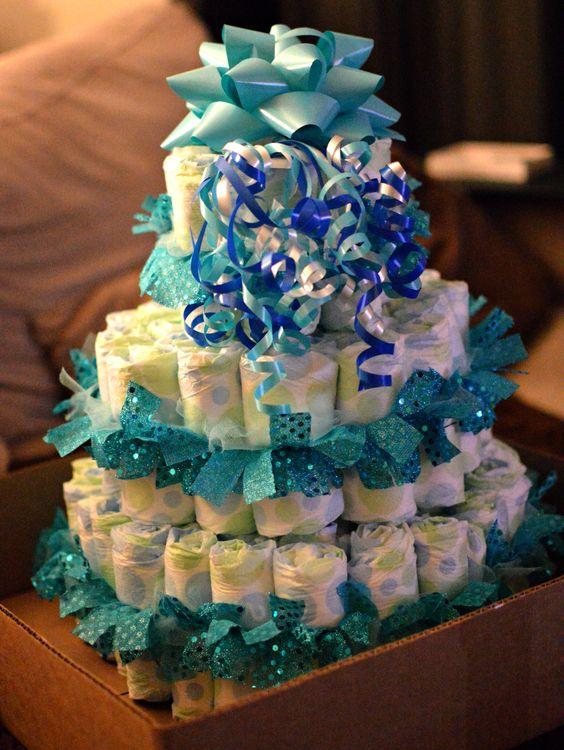 Diaper cake I made for a cousins baby shower .