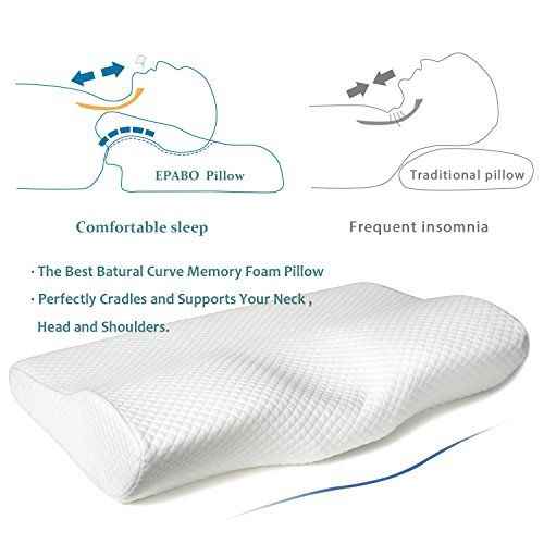 Firm /& Standard Size Ergonomic Cervical Pillow for Neck Pain Back and Stomach Sleepers EPABO Contour Memory Foam Pillow Orthopedic Sleeping Pillows Free Pillowcase Included for Side Sleepers