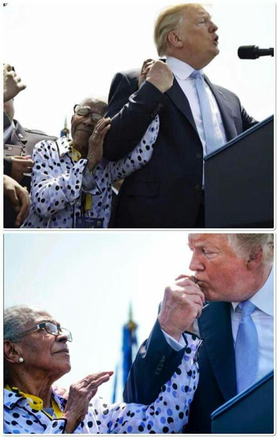 This dear lady wanted to pray for President Trump. He held her hand the entire time she prayed.