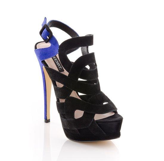 Navy color block heels