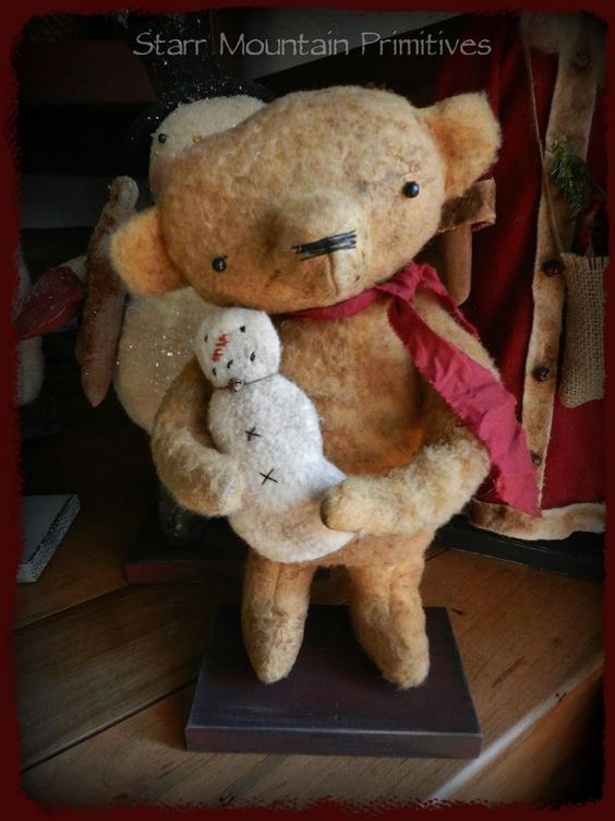 Primitive Teddy Bear holding a little snowman https://www.facebook.com/Starr-Mountain-Primitives-228548684018/timeline/