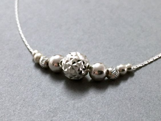 Sterling silver necklace Minimalist silver by PurpleSoulHeart
