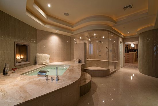 Large spacious bathroom with fireplace