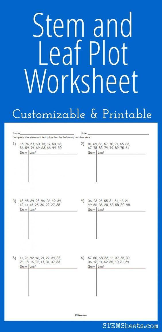 Stem And Leaf Plot Worksheet Customizable And Printable Grade 6 Math Sixth Grade Math Math Curriculum