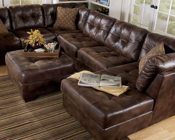 Largo Contemporary Brown Microfiber Large Sofa Couch Sectional Set Living R