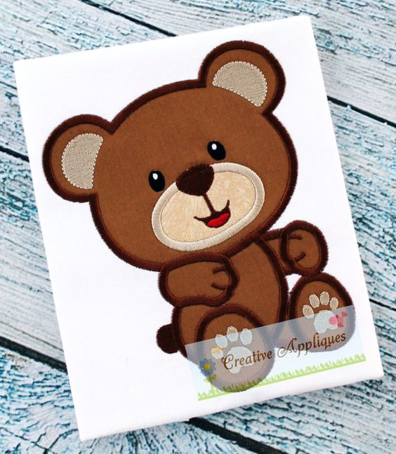 TEDDY BEAR MACHINE EMBROIDERY APPLIQUE DESIGN 4 SIZES    INSTANT DOWNLOAD    Everyone loves teddy bears and this is one of the sweetest there