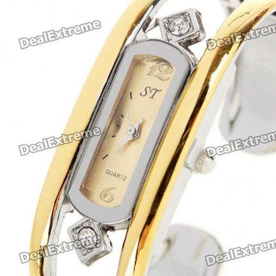 Stylish Bracelet Band Quartz Wrist Watch - Golden + Silver (1 x 377)