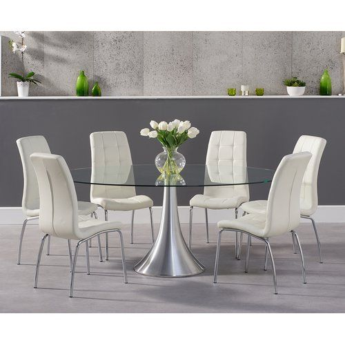 Round Rock Dining Set With 8 Chairs Wrought Studio Oval Glass