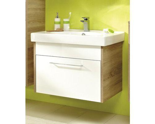 Waschtischunterschrank Pelipal Lagos Breite 75 Cm Weiss Glanzend Eiche Natur Quer Zerlegt Bathroom Vanity Vanity Storage
