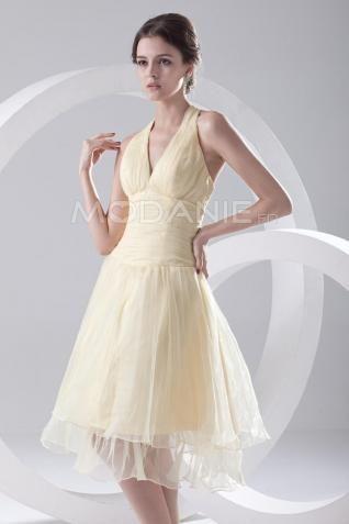 Bretelle au cou robe demoiselle d'honneur organza longueur aux genoux col en v [#M1408146690] - modanie