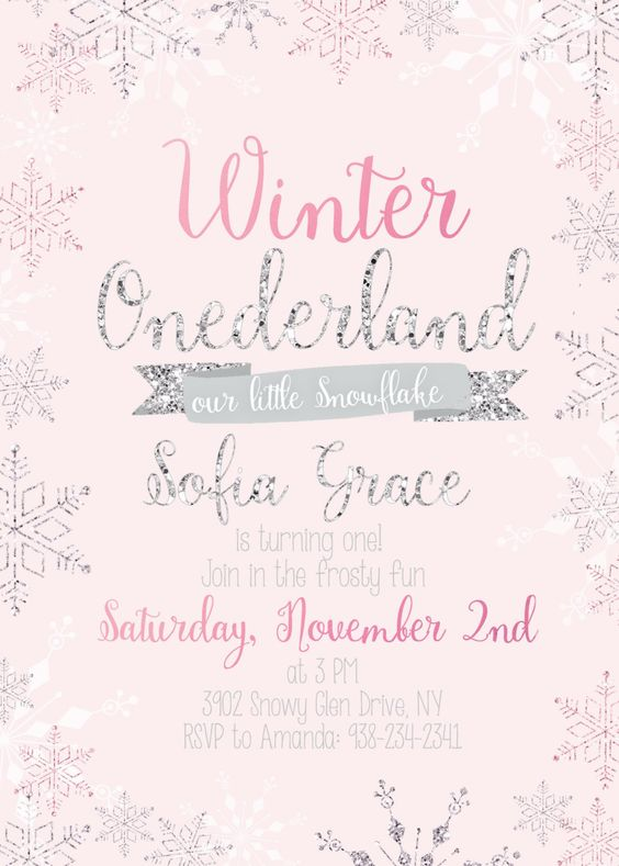 Winter ONEderland invitation snowflake by RachellesPrintables