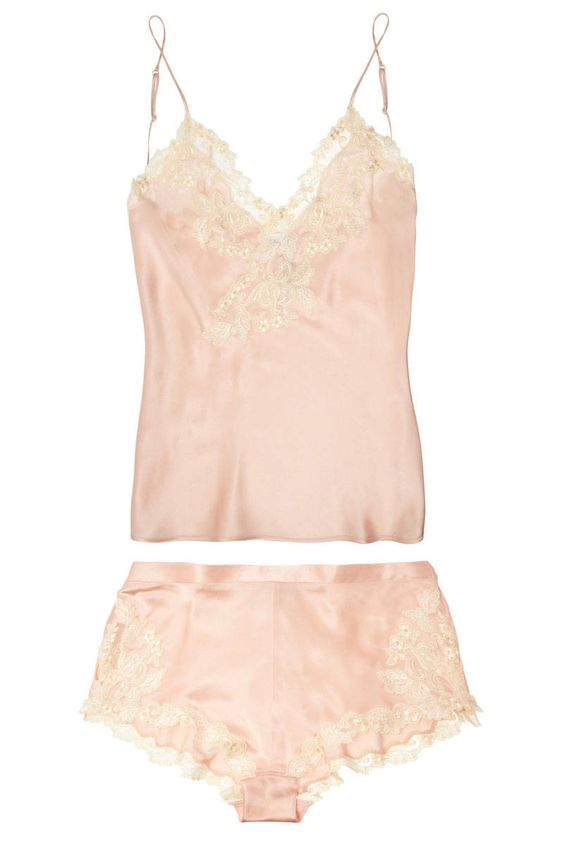 La Perla Maison Lace-Trimmed Satin Camisole and Briefs