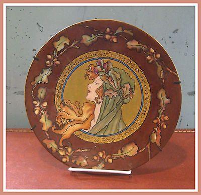 Art-Nouveau-Porrait-Porcelain-Plate-Philip-Rosenthal-Co-of-Kronach-Bavaria