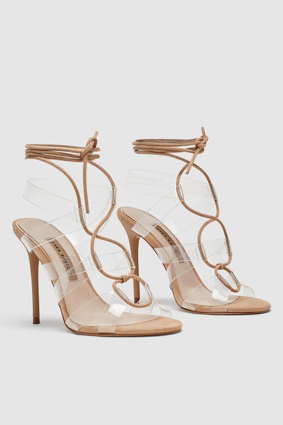 Image 5 Of Heeled Vinyl Tie Sandals From Zara Sandalen Schuhe Schuhe Frauen