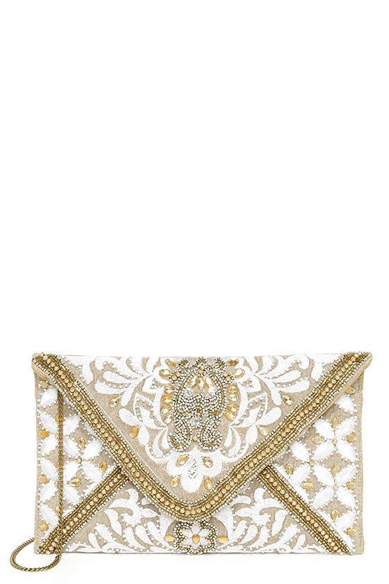 Bangalore Palace Gold Beaded Clutch